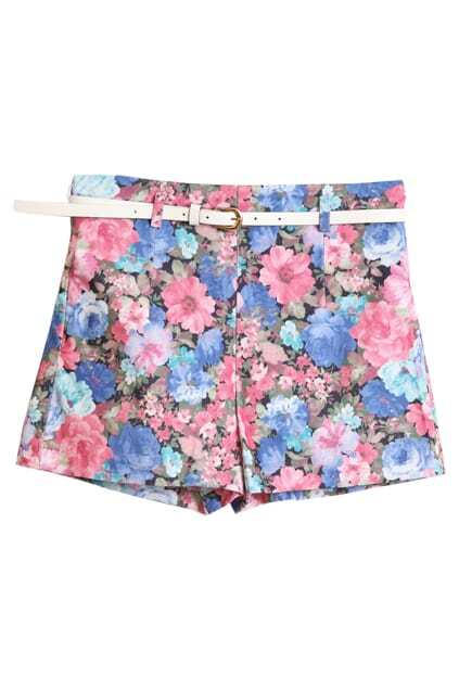 Floral Printed With Belt Rose Shorts