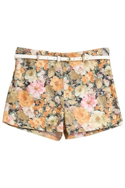 Floral Printed With Belt Yellow Shorts