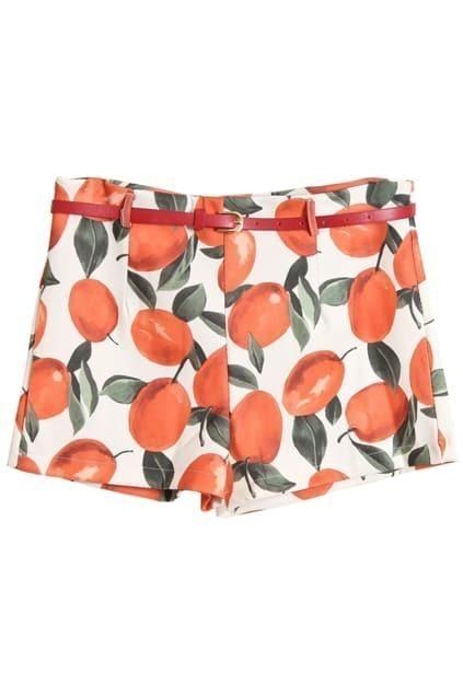 Fruits Printed With Belt Orange Shorts