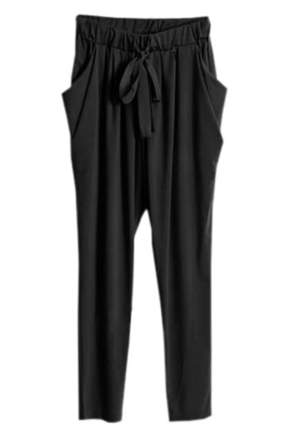 Drawstring Waist Black Harem Pants