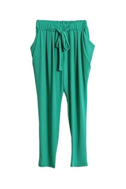 Drawstring Waist Green Harem Pants