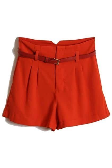 Red Belt High Waist Red Shorts