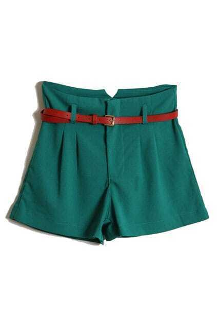 Red Belt High Waist Green Shorts