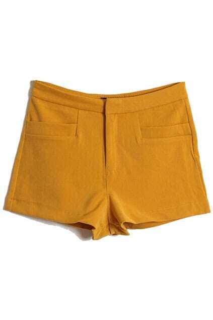 Simple Style Yellow Shorts