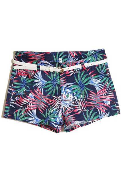 Leaves Printed Dark Blue Shorts