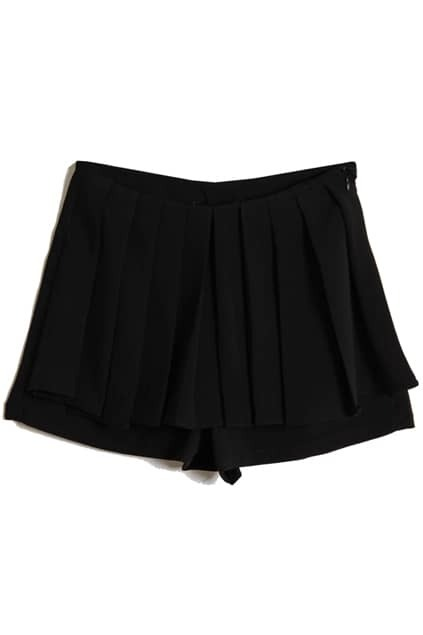 Pleated Front Black Shorts