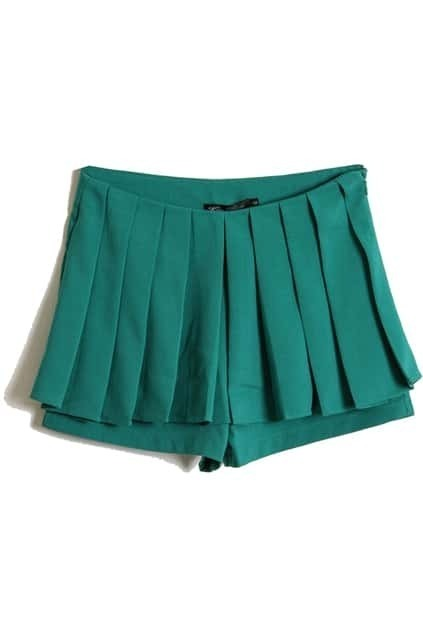 Pleated Front Green Shorts
