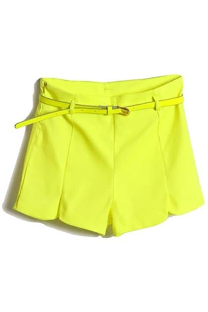 With Belt Fluorescent Yellow Shorts