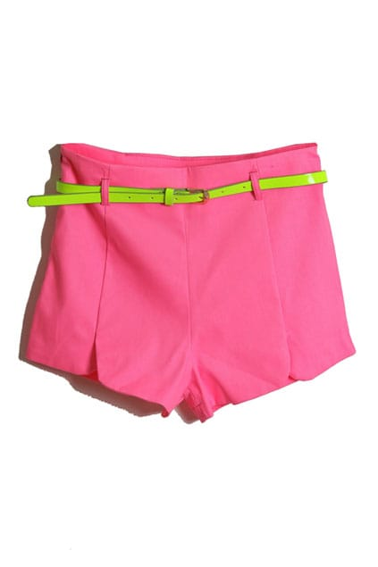 With Belt Fluorescent Rose Shorts