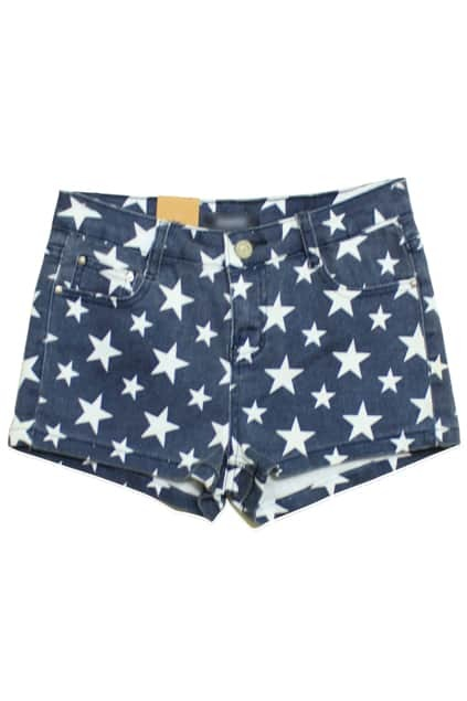 Stars Print Denim Shorts