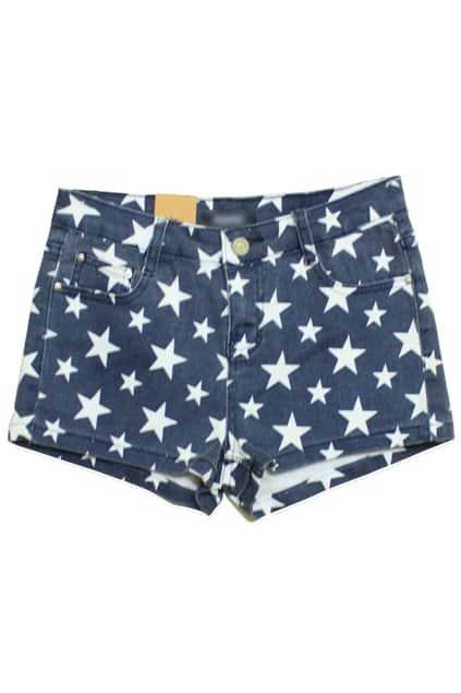 Stars Print Denim Shorts