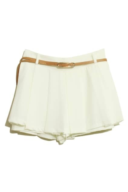 Double Layered White Belted Shorts