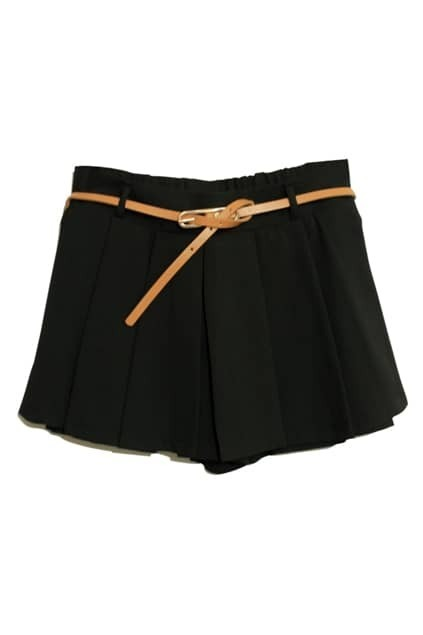 Double Layered Black Belted Shorts