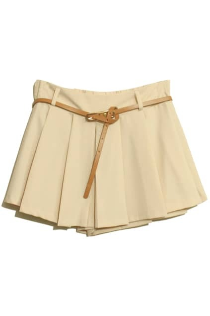 Double Layered Apricot Belted Shorts