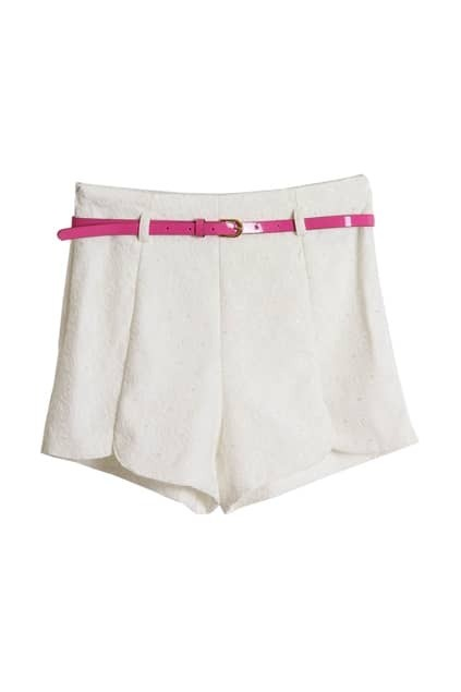 All-over Lace Belted White Shorts