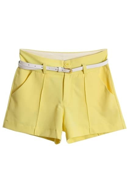 Candy Lemon Belted Shorts