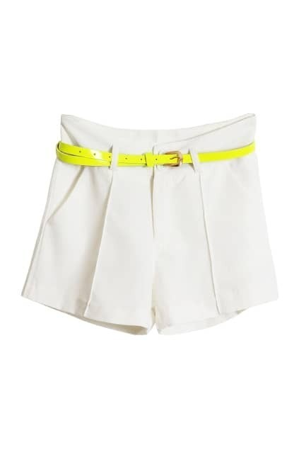 Candy White Belted Shorts