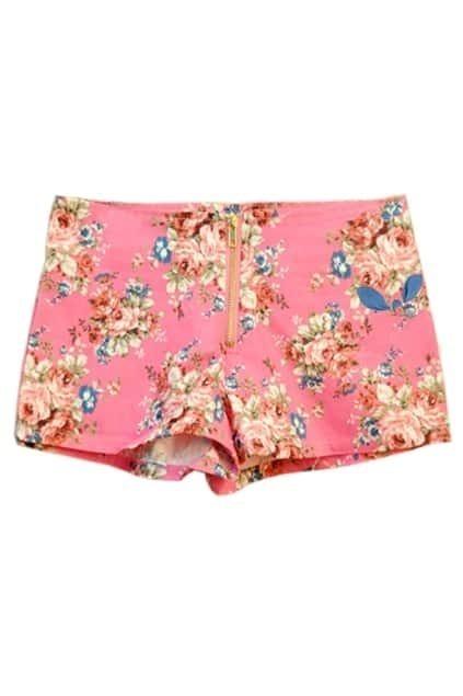 Retro Shivering Zipped Pink Shorts