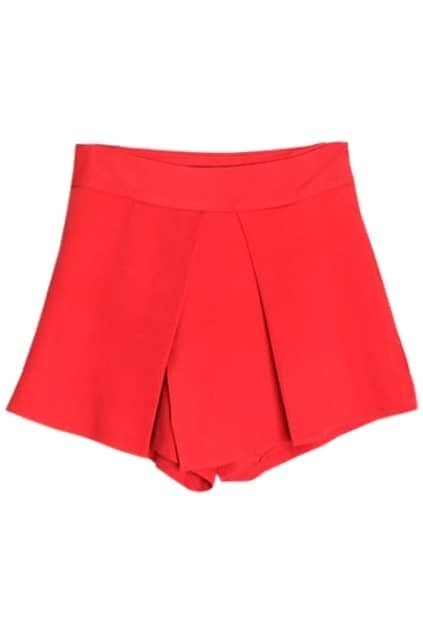 Slim Empire Waist Red Culottes