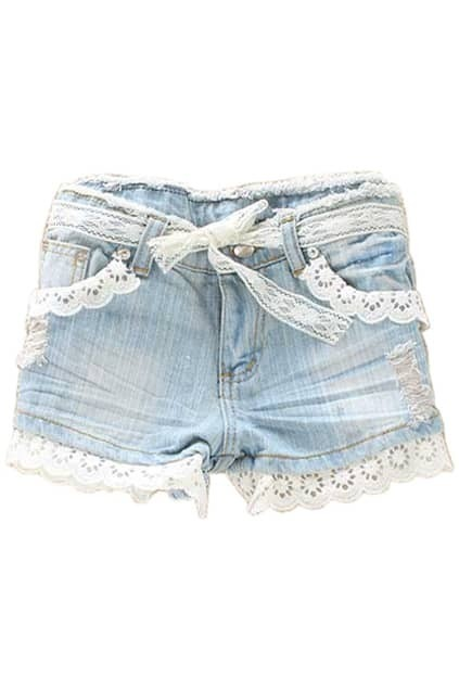 Holes Lace Trimming Shorts