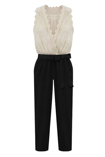 Color Contrast Lace Jumpsuit