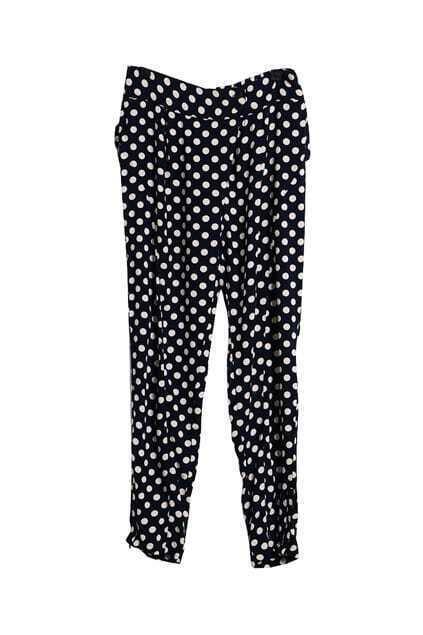 Dots Print Black Pants