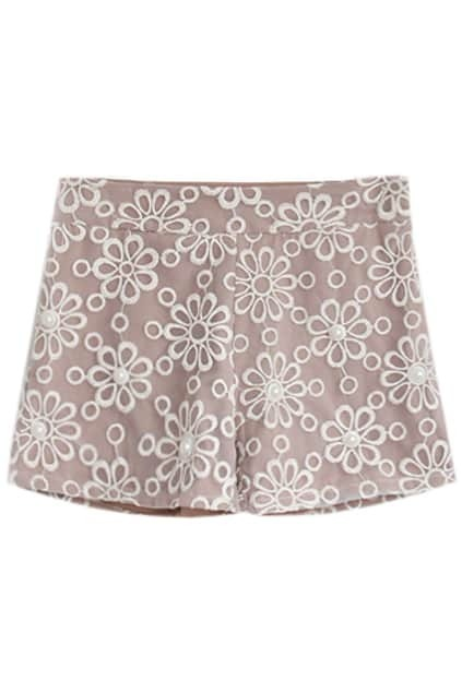 Beads Fitted Lace Khaki Shorts