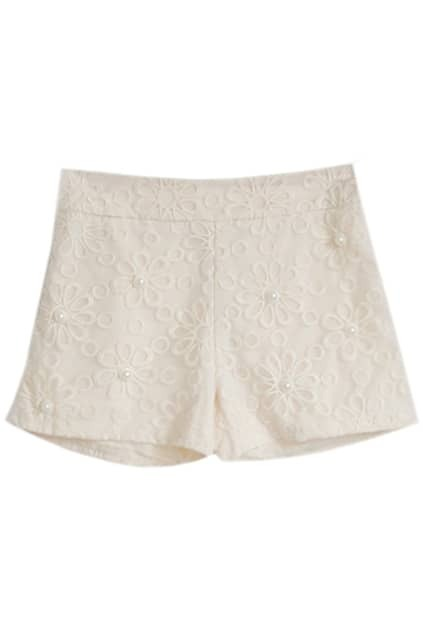 Beads Fitted Lace Cream Shorts