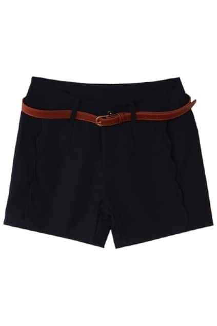 Fitted Belt Wave Side Black Shorts