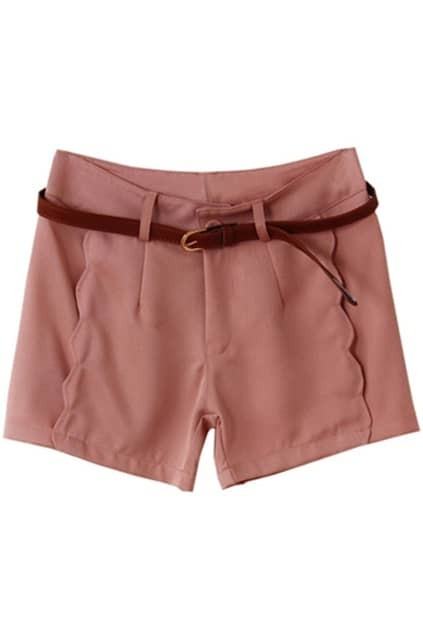 Fitted Belt Wave Side Pink Shorts
