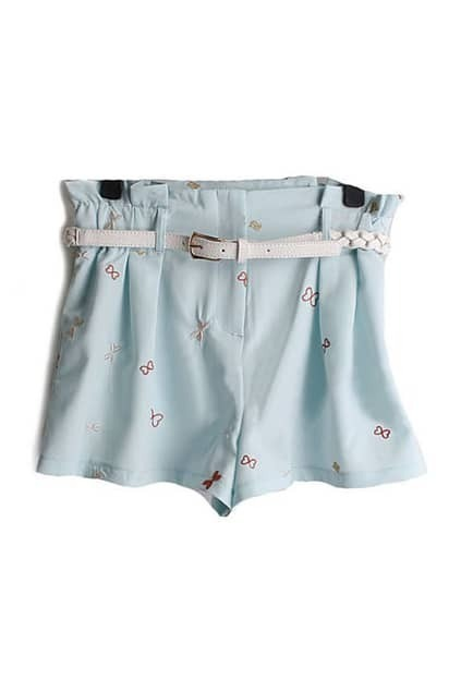 Bowknot Fitted Belt Blue Bud Shorts