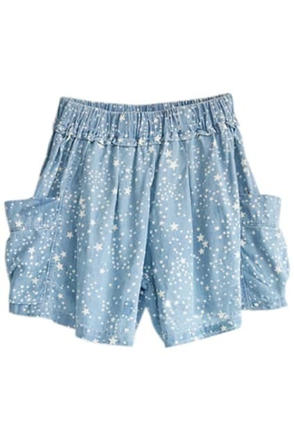 Five-star Printed Elasticated Wild Blue Shorts