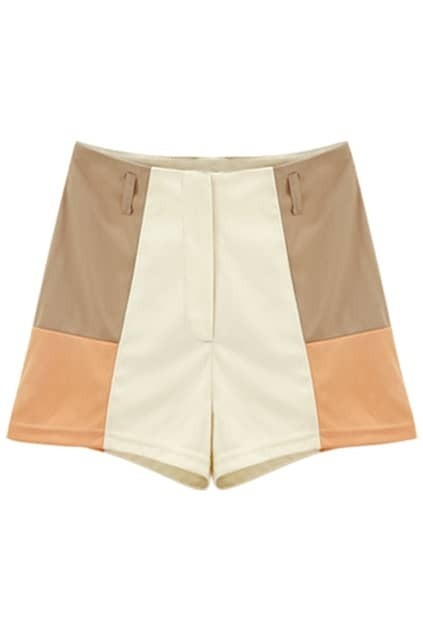 Contrast Colour Slim High-waist Cream Shorts