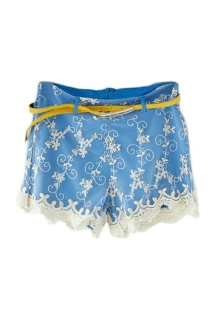 Fitted Belt Golden Hem Blue Shorts