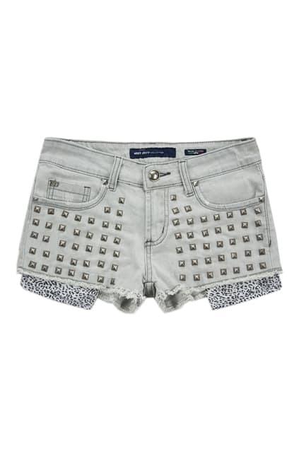 Punk Style Light Grey Denim Shorts