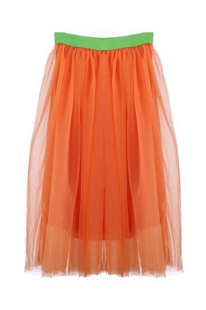 Contrast Waistband Netted Orange Skirt