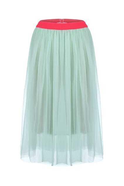 Contrast Waistband Netted Green Skirt