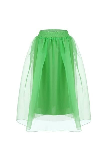 Layered Green Puff Skirt