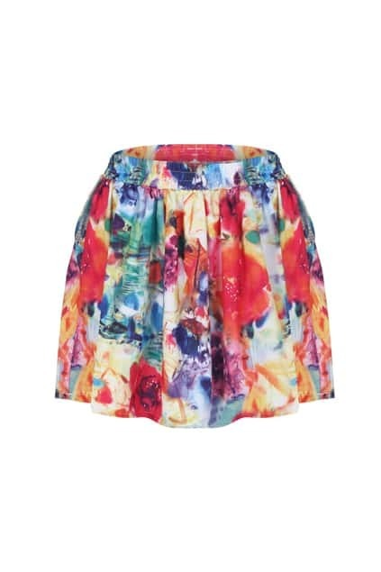 Floral Print Ziped Skirt
