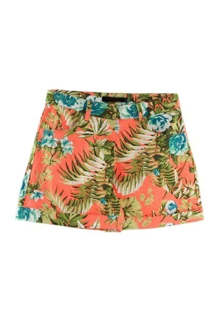 Flowers Print Orange Shorts