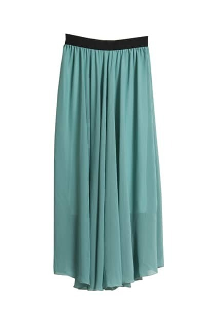Oversized Green Chiffon Skirt