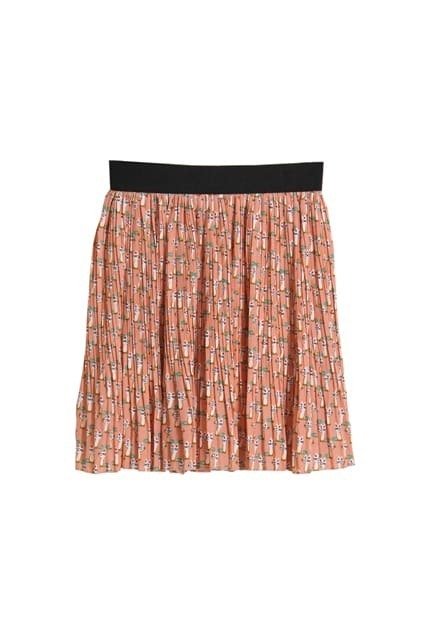 Little Cats Printed Pink Skirt