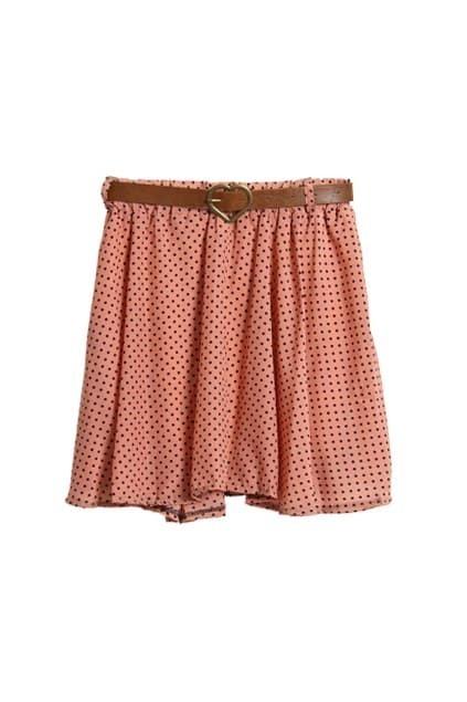 Dots Printed Pink Orange Skirt