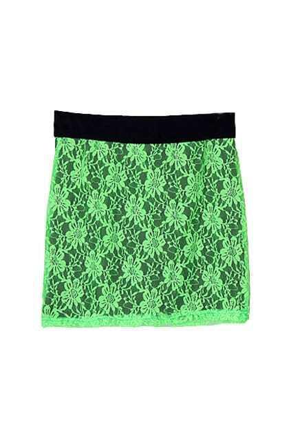 Crochet Lace Green Skirt