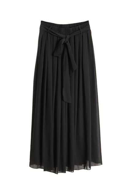 Self-tie Belt Black Longline Skirt