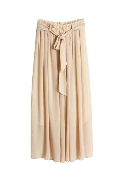 Self-tie Belt Apricot Longline Skirt