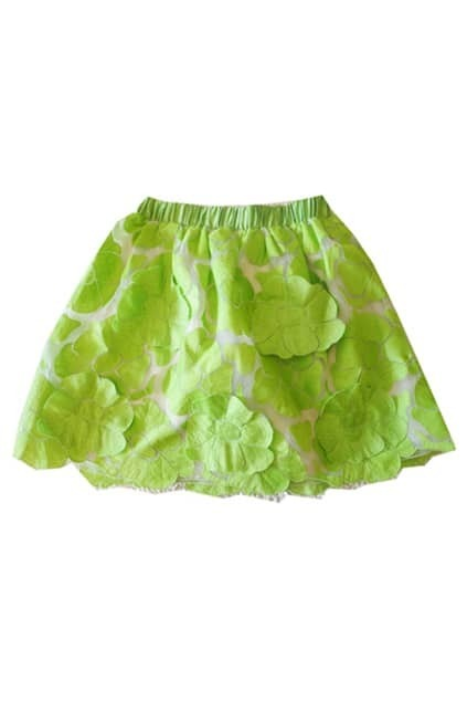 Flowers Print Green Skirt