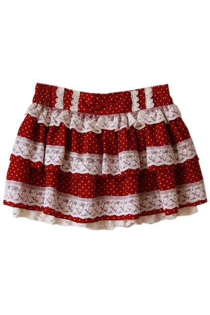Bowknot Lace Wine-red Skirt