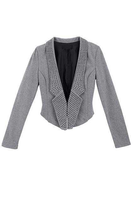 Slim Tailored Collar Short Grey Blazer