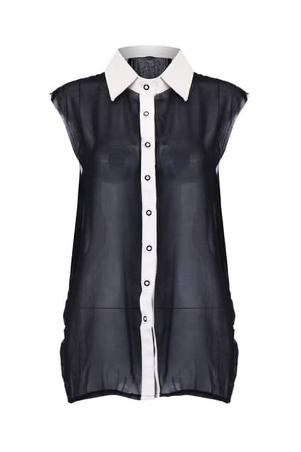 Eyelash Cuffs Sleeveless Shirt